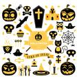 Halloween Set Pumpkin Skull Ghost Candy Cat vector image vector image