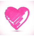 Pink isolated marker painted textured heart vector image vector image