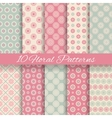 Floral different seamless patterns tiling vector image vector image