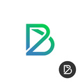 Letter B linear industry wire puzzle logo template vector image
