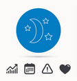 night or sleep icon moon and stars sign vector image