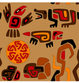 seamless stylized tribal pattern with animals and vector image