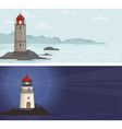 sea backgrounds with lighthouse vector image