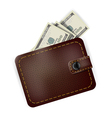 Leather wallet with dollars inside vector image vector image