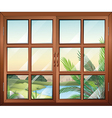 A closed window near the pond vector image