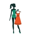 An of a pretty girl getting dressed vector image vector image