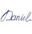 Daniel name lettering tinsels vector image vector image