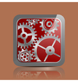 Button silver with gears vector image