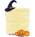 halloween signboard with pumpkins and hat vector image
