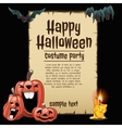 Laughing pumpkin with card happy Halloween vector image