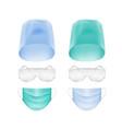 set of medical face ear loop mask cap glasses vector image