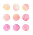 hand drawn watrcolor circles of pink and yellow vector image