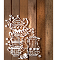 Tea cup background with teapot and jar vector image
