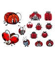 Ladybugs ladybirds and beetles cartoon insects vector image