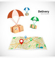 delivery service parcels fly to the destination vector image