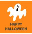Funny flying ghost Happy Halloween bone text vector image