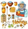 Hand Drawn Honey Icon Set vector image