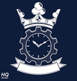 Retro cog wheel and clock with crown business vector image