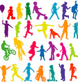 Set of colored silhouettes of active children vector image