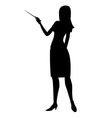 silhouette woman showing pointer vector image