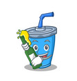 soda drink character cartoon with beer vector image