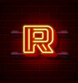 neon city font letter r signboard vector image
