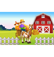 A boy at the farm vector image vector image
