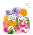 Background with summer flowers and watercolors-05 vector image