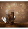 splashes of milk with cocoa and chocolate vector image