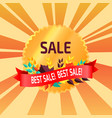 best sale gold logo emblem with leaves red ribbon vector image