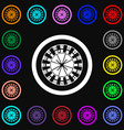 casino roulette wheel icon sign Lots of colorful vector image