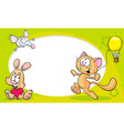 funny frame with cute animals - cat bunny and vector image