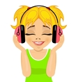 girl enjoys listening to music with headphones vector image