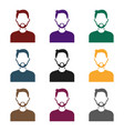 man with beard icon in black style isolated on vector image