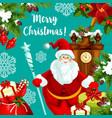 santa greeting card for christmas and new year vector image