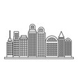 sketch contour city landscape with buildings vector image