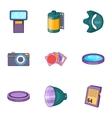 Camera icons set cartoon style vector image