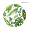 Watercolor card of tropical leaves and vector image