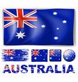 Australia flag in different designs vector image vector image