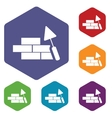 Building rhombus icons vector image