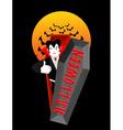 Halloween typography Dracula in his coffin Logo vector image