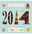 Happy New Yea greeting card vector image
