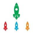 Rocket sign Colorfull set vector image