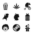 show of clown icons set simple style vector image
