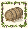 Wooden Oak Barrel with an Iron Rims vector image
