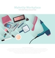 Beauty and makeup cosmetics pattern with make up vector image