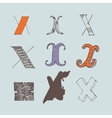 set of colorful alphabet letters X vector image