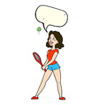 cartoon woman playing tennis with speech bubble vector image