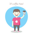 cheerful little boy with paper coffee cup vector image