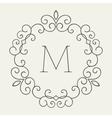 Elegant retro lineart floral frame vector image